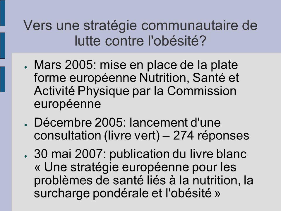Vers une stratégie communautaire de lutte contre l'obésité? Mars 2005: mise en place de la plate forme européenne Nutrition, Santé et Activité Physiqu