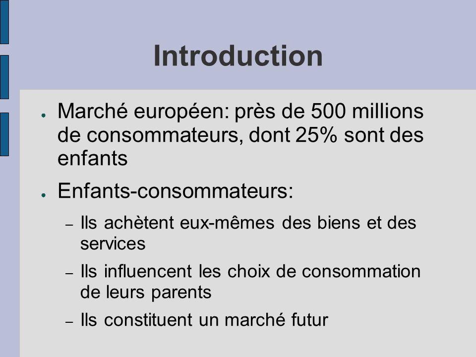Introduction Marché européen: près de 500 millions de consommateurs, dont 25% sont des enfants Enfants-consommateurs: – Ils achètent eux-mêmes des bie