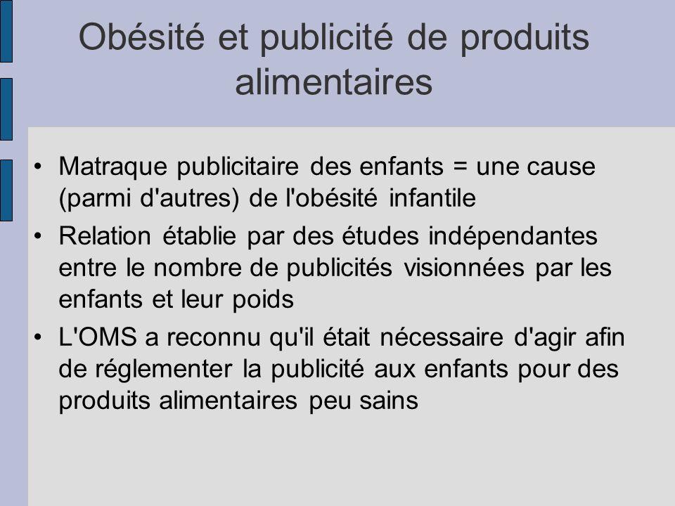 Obésité et publicité de produits alimentaires Matraque publicitaire des enfants = une cause (parmi d'autres) de l'obésité infantile Relation établie p