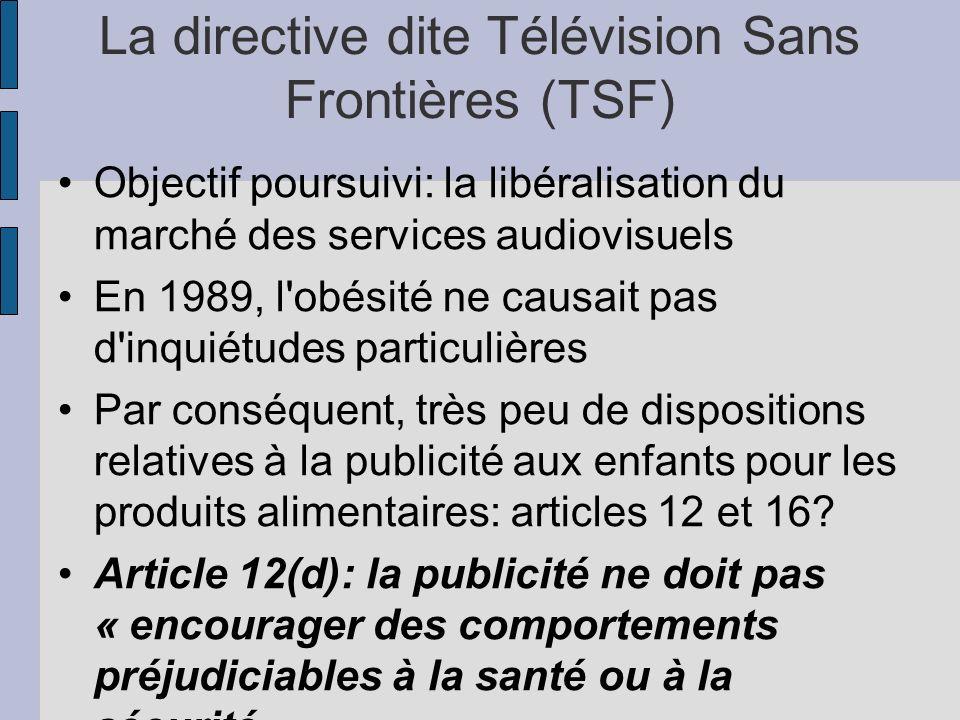 La directive dite Télévision Sans Frontières (TSF) Objectif poursuivi: la libéralisation du marché des services audiovisuels En 1989, l'obésité ne cau