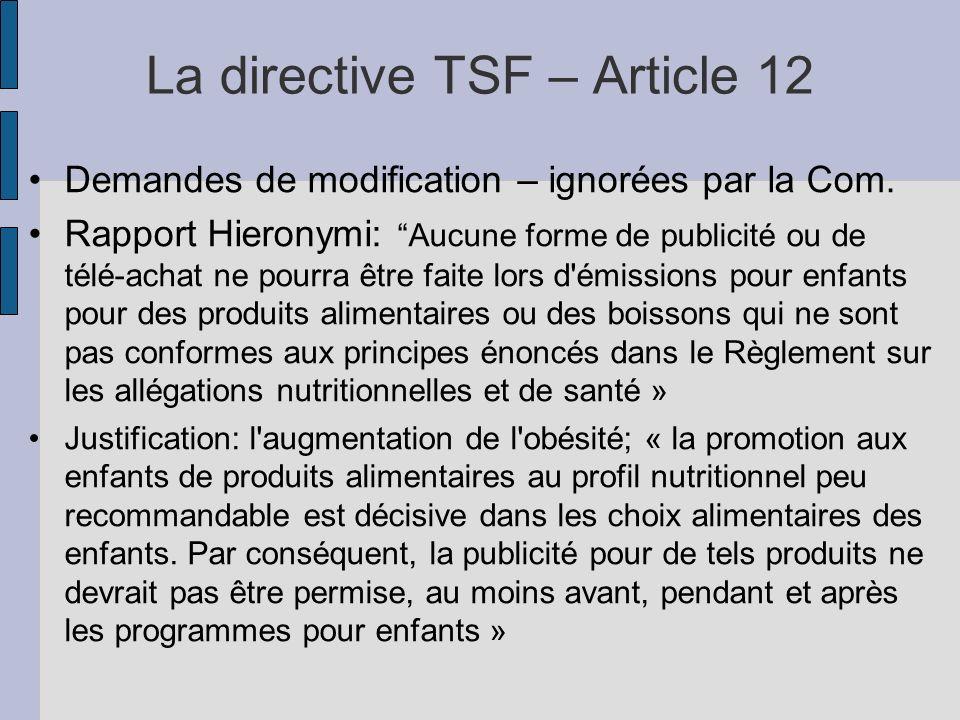La directive TSF – Article 12 Demandes de modification – ignorées par la Com. Rapport Hieronymi: Aucune forme de publicité ou de télé-achat ne pourra