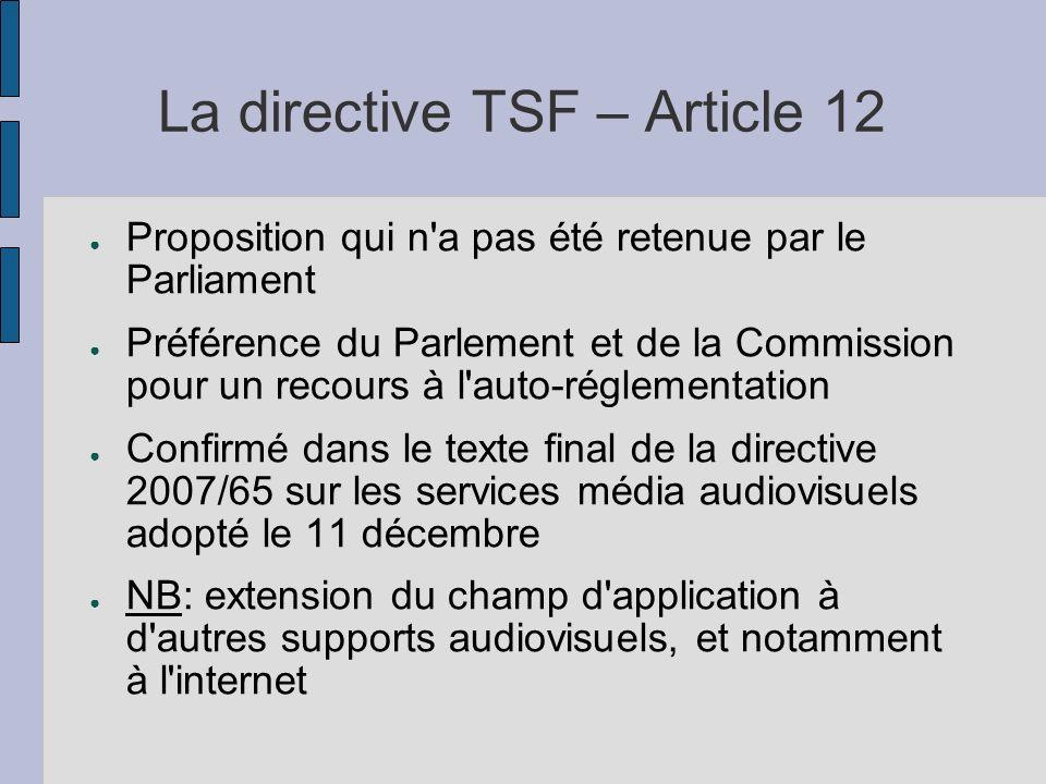 La directive TSF – Article 12 Proposition qui n'a pas été retenue par le Parliament Préférence du Parlement et de la Commission pour un recours à l'au