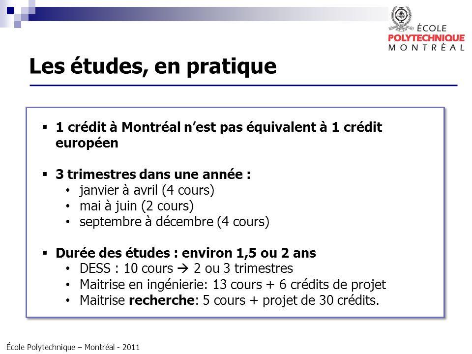 École Polytechnique – Montréal - 2011 1 crédit à Montréal nest pas équivalent à 1 crédit européen 3 trimestres dans une année : janvier à avril (4 cou