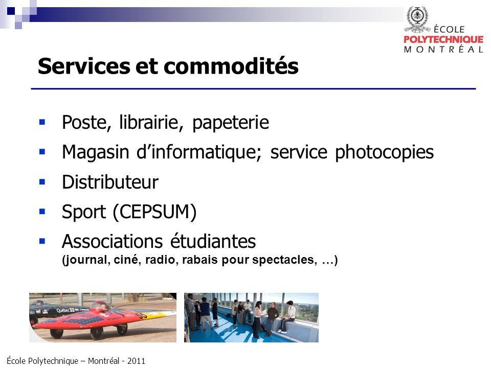 École Polytechnique – Montréal - 2011 Poste, librairie, papeterie Magasin dinformatique; service photocopies Distributeur Sport (CEPSUM) Associations