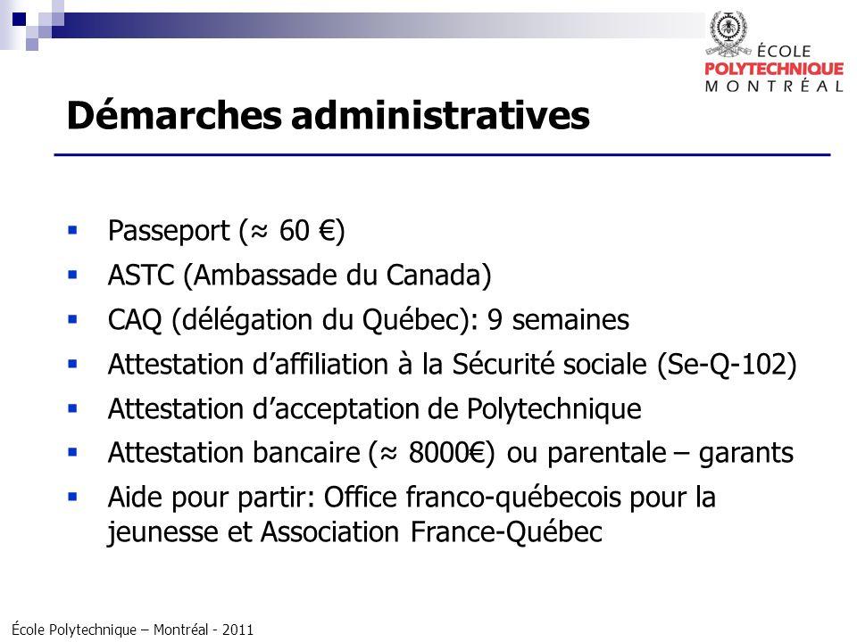 École Polytechnique – Montréal - 2011 Passeport ( 60 ) ASTC (Ambassade du Canada) CAQ (délégation du Québec): 9 semaines Attestation daffiliation à la