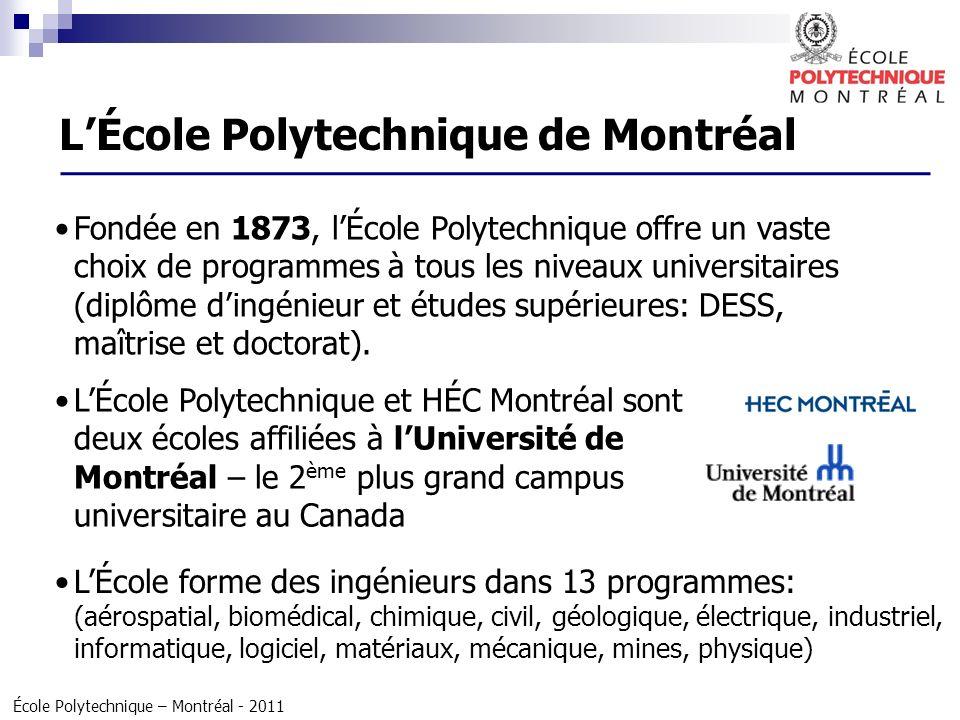 École Polytechnique – Montréal - 2011 1 crédit à Montréal nest pas équivalent à 1 crédit européen 3 trimestres dans une année : janvier à avril (4 cours) mai à juin (2 cours) septembre à décembre (4 cours) Durée des études : environ 1,5 ou 2 ans DESS : 10 cours 2 ou 3 trimestres Maitrise en ingénierie: 13 cours + 6 crédits de projet Maitrise recherche: 5 cours + projet de 30 crédits.