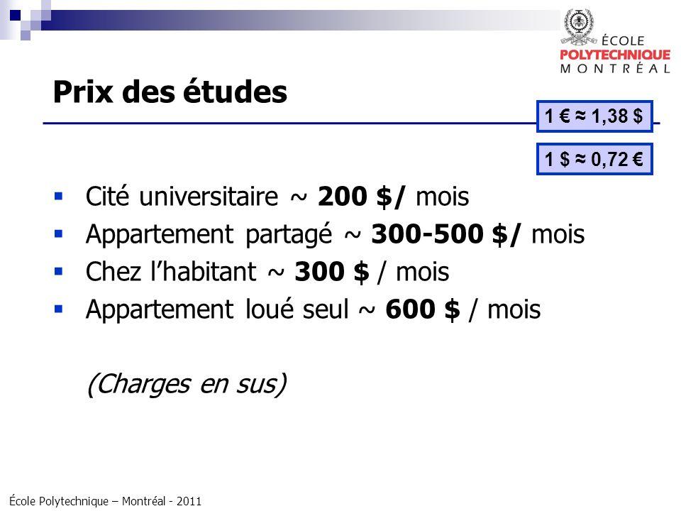 École Polytechnique – Montréal - 2011 Cité universitaire ~ 200 $/ mois Appartement partagé ~ 300-500 $/ mois Chez lhabitant ~ 300 $ / mois Appartement