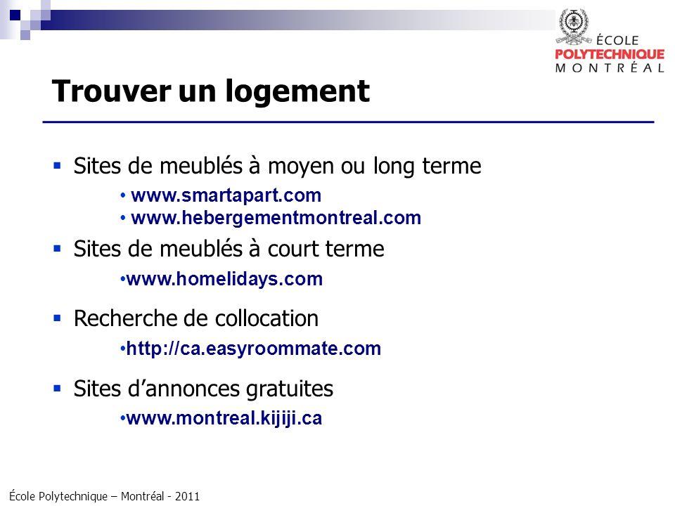 École Polytechnique – Montréal - 2011 Sites de meublés à moyen ou long terme www.smartapart.com www.hebergementmontreal.com Sites de meublés à court t