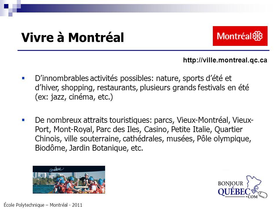 École Polytechnique – Montréal - 2011 Dinnombrables activités possibles: nature, sports dété et dhiver, shopping, restaurants, plusieurs grands festiv