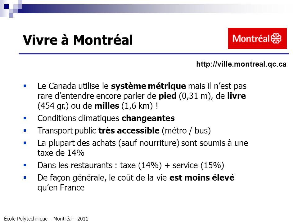 École Polytechnique – Montréal - 2011 Le Canada utilise le système métrique mais il nest pas rare dentendre encore parler de pied (0,31 m), de livre (