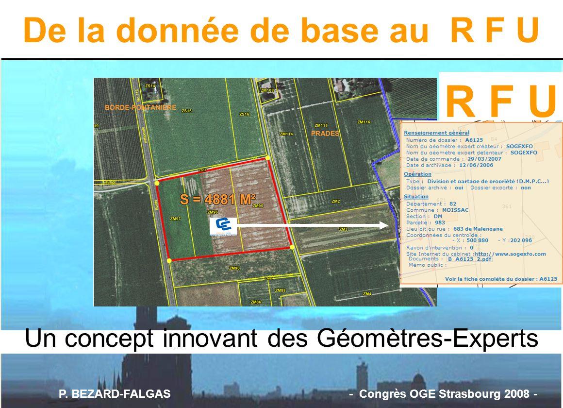 Un concept innovant des Géomètres-Experts R F U De la donnée de base au R F U P. BEZARD-FALGAS - Congrès OGE Strasbourg 2008 -