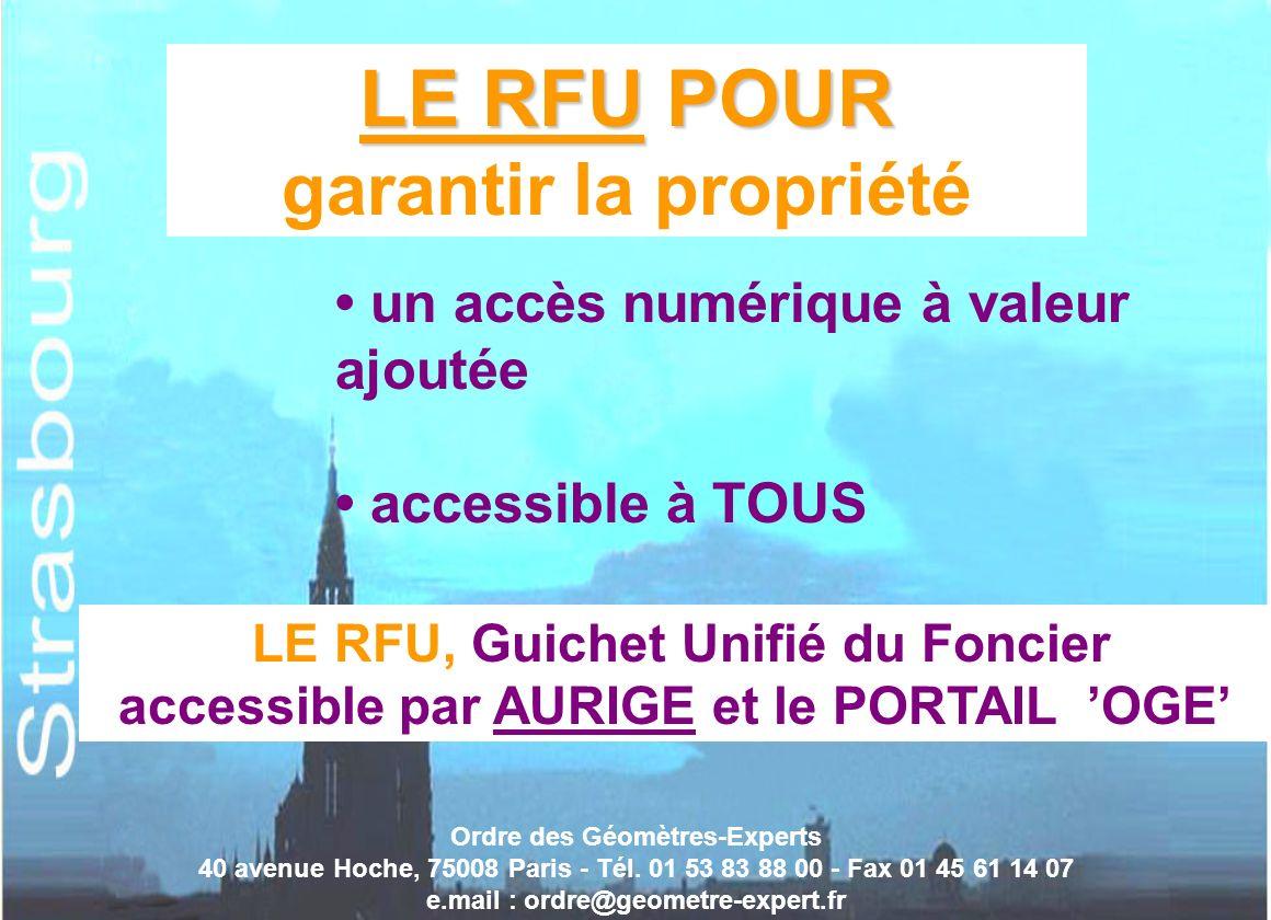 Ordre des Géomètres-Experts 40 avenue Hoche, 75008 Paris - Tél. 01 53 83 88 00 - Fax 01 45 61 14 07 e.mail : ordre@geometre-expert.fr LE RFU POUR LE R