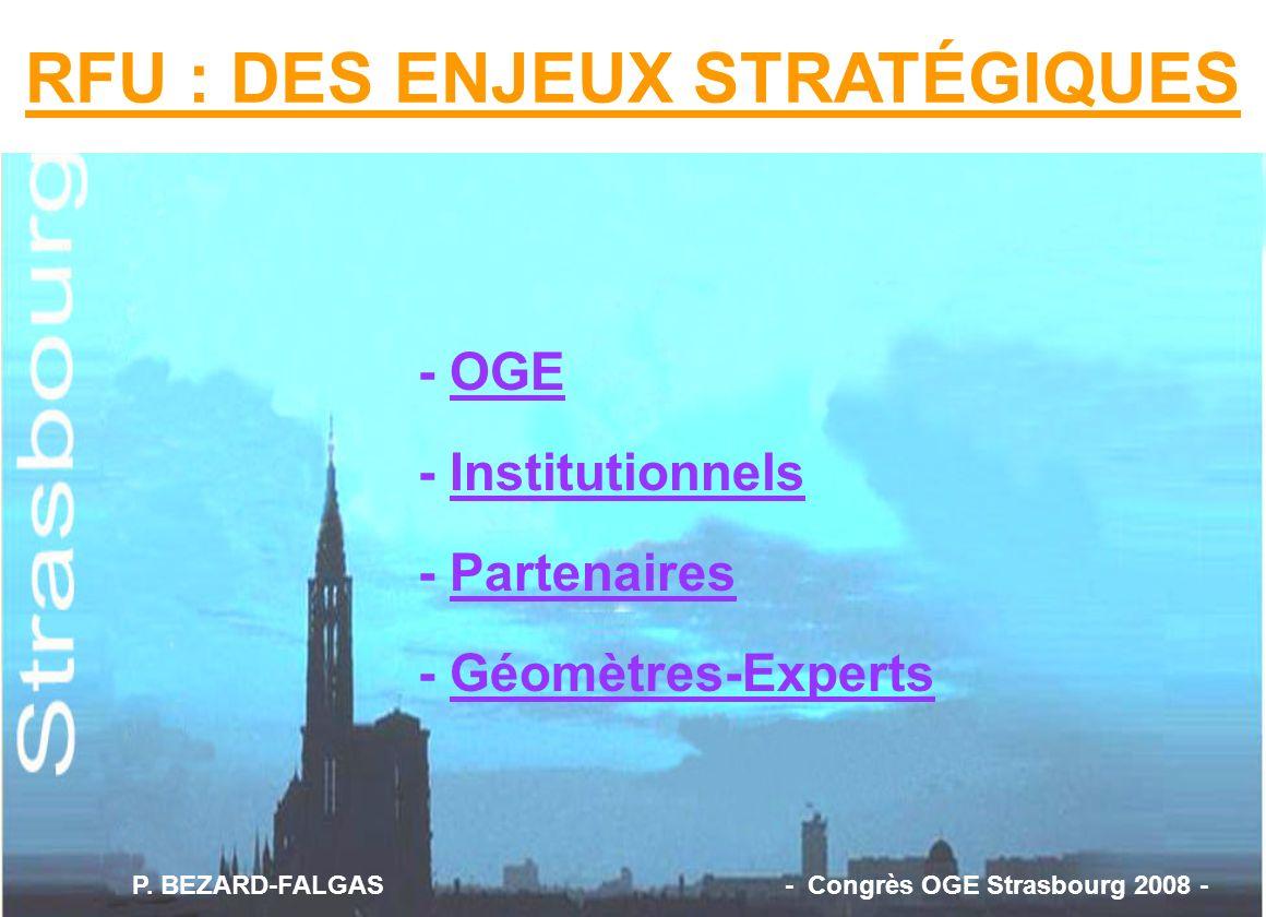 - OGE - Institutionnels - Partenaires - Géomètres-Experts RFU : DES ENJEUX STRATÉGIQUES P. BEZARD-FALGAS - Congrès OGE Strasbourg 2008 -