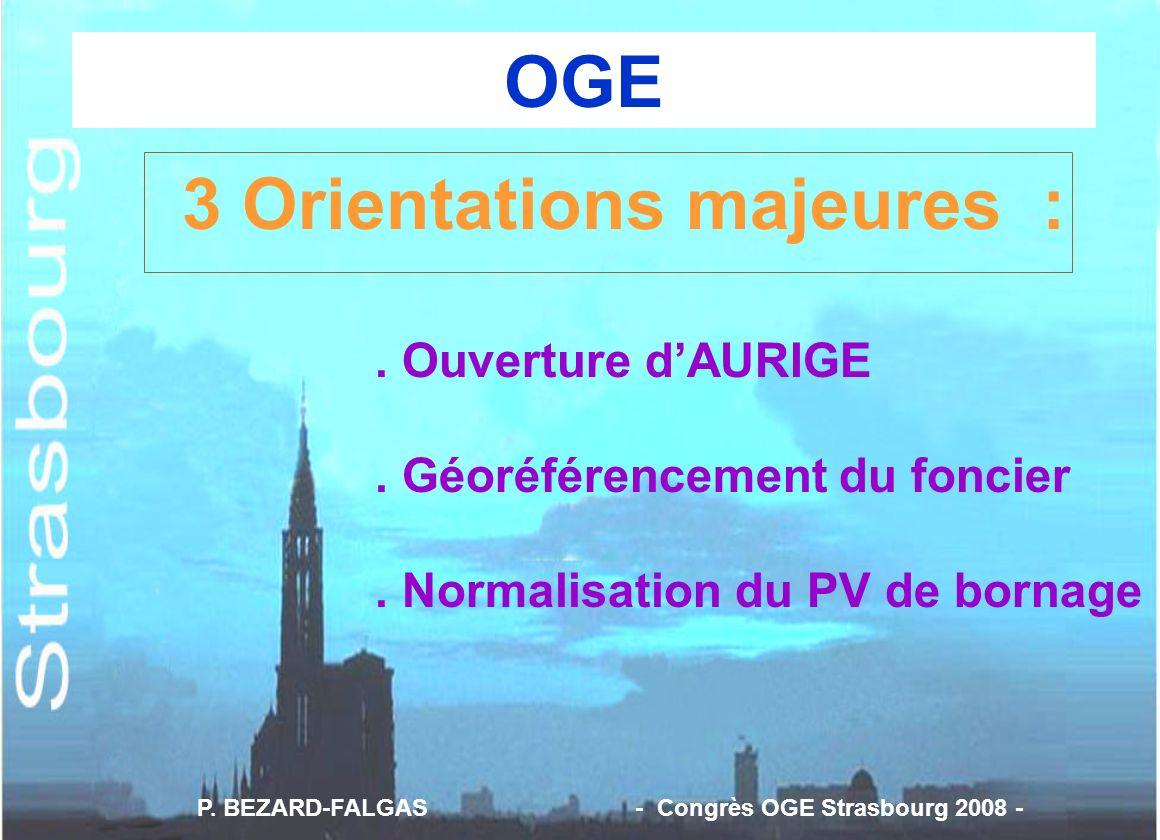 3 Orientations majeures :. Ouverture dAURIGE. Géoréférencement du foncier. Normalisation du PV de bornage P. BEZARD-FALGAS - Congrès OGE Strasbourg 20
