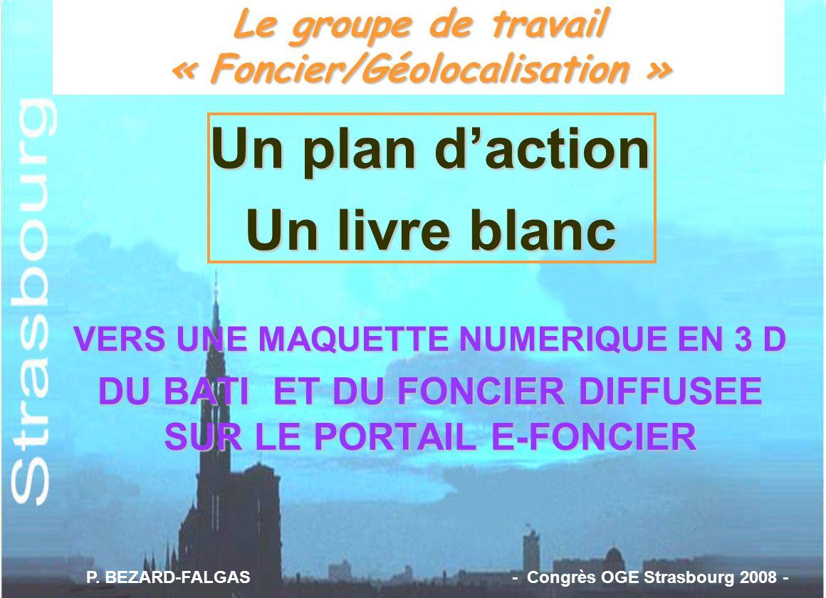 Le groupe de travail « Foncier/Géolocalisation » Un plan daction Un livre blanc VERS UNE MAQUETTE NUMERIQUE EN 3 D DU BATI ET DU FONCIER DIFFUSEE SUR