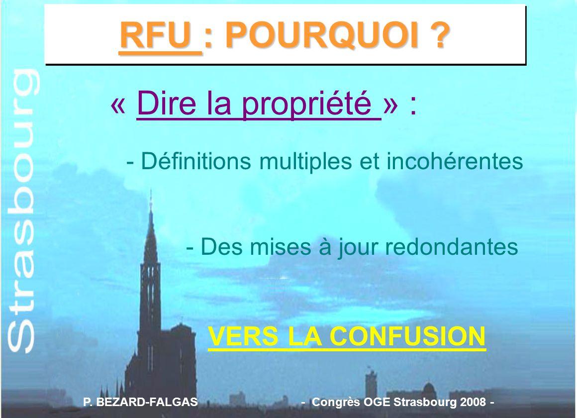 RFU : POURQUOI ? « Dire la propriété » : - Définitions multiples et incohérentes - Des mises à jour redondantes VERS LA CONFUSION P. BEZARD-FALGAS - C