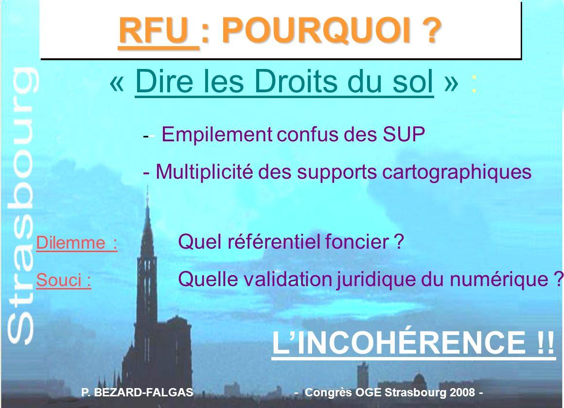 RFU : POURQUOI ? « Dire les Droits du sol » : - - Empilement confus des SUP - Multiplicité des supports cartographiques Dilemme : Quel référentiel fon
