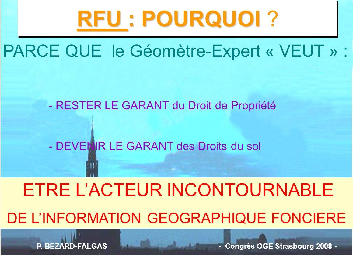 RFU : POURQUOI RFU : POURQUOI ? PARCE QUE le Géomètre-Expert « VEUT » : - RESTER LE GARANT du Droit de Propriété - DEVENIR LE GARANT des Droits du sol