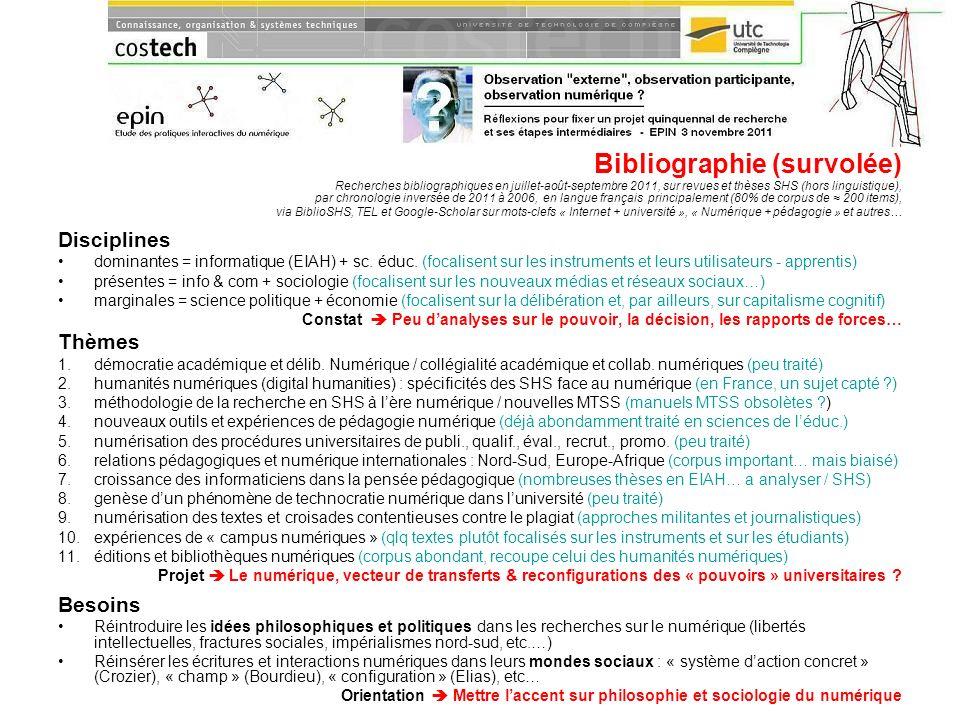 Bibliographie (survolée) Recherches bibliographiques en juillet-août-septembre 2011, sur revues et thèses SHS (hors linguistique), par chronologie inv