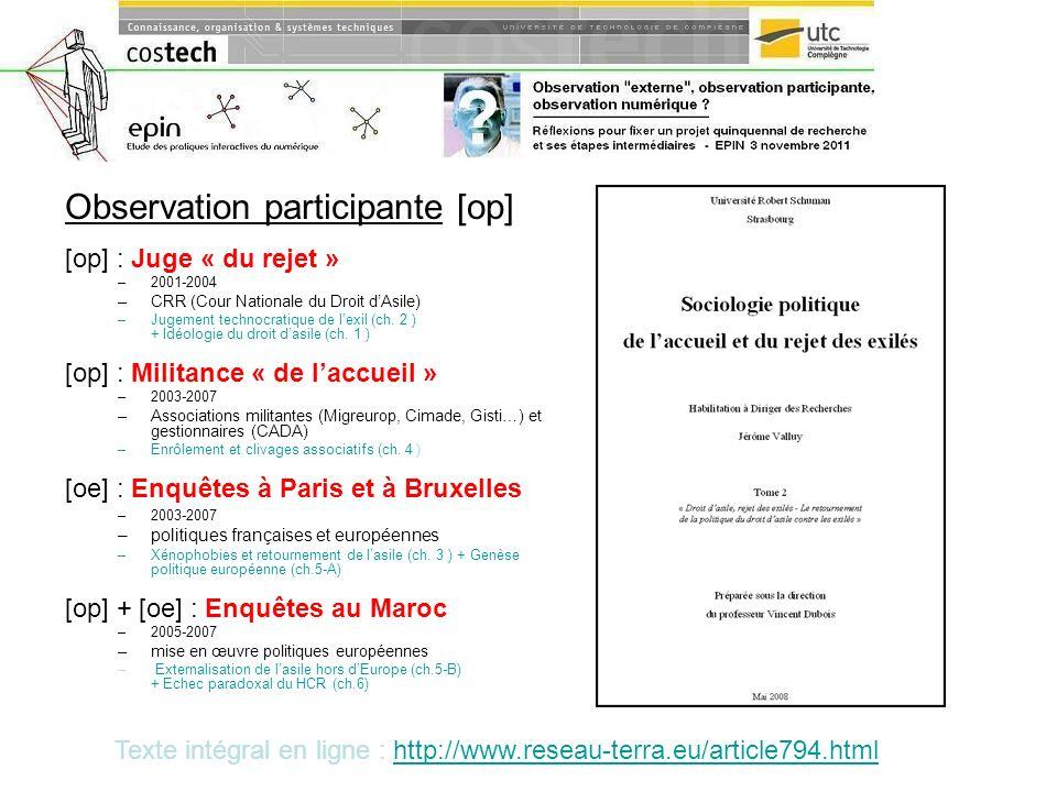 Observation participante [op] [op] : Juge « du rejet » –2001-2004 –CRR (Cour Nationale du Droit dAsile) –Jugement technocratique de lexil (ch. 2 ) + I