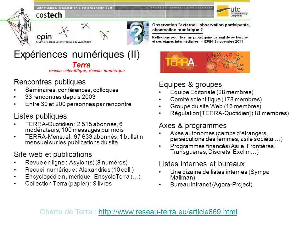 Expériences numériques (II) Terra réseau scientifique, réseau numérique Rencontres publiques Séminaires, conférences, colloques 33 rencontres depuis 2
