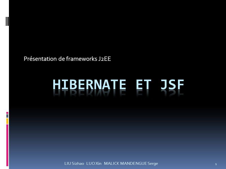 Présentation de frameworks J2EE 1 LIU Sizhao LUO Xin MALICK MANDENGUE Serge