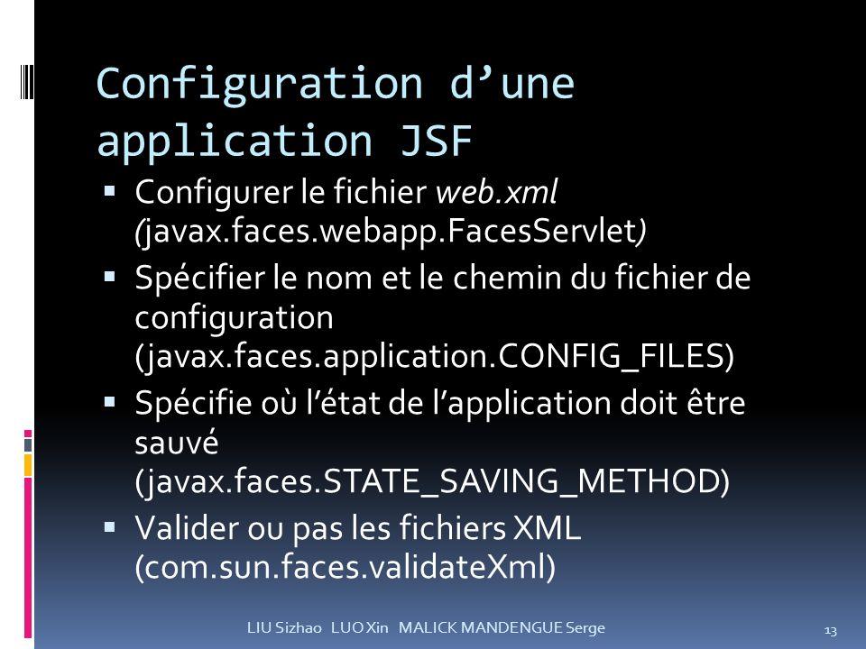 Configuration dune application JSF Configurer le fichier web.xml (javax.faces.webapp.FacesServlet) Spécifier le nom et le chemin du fichier de configu