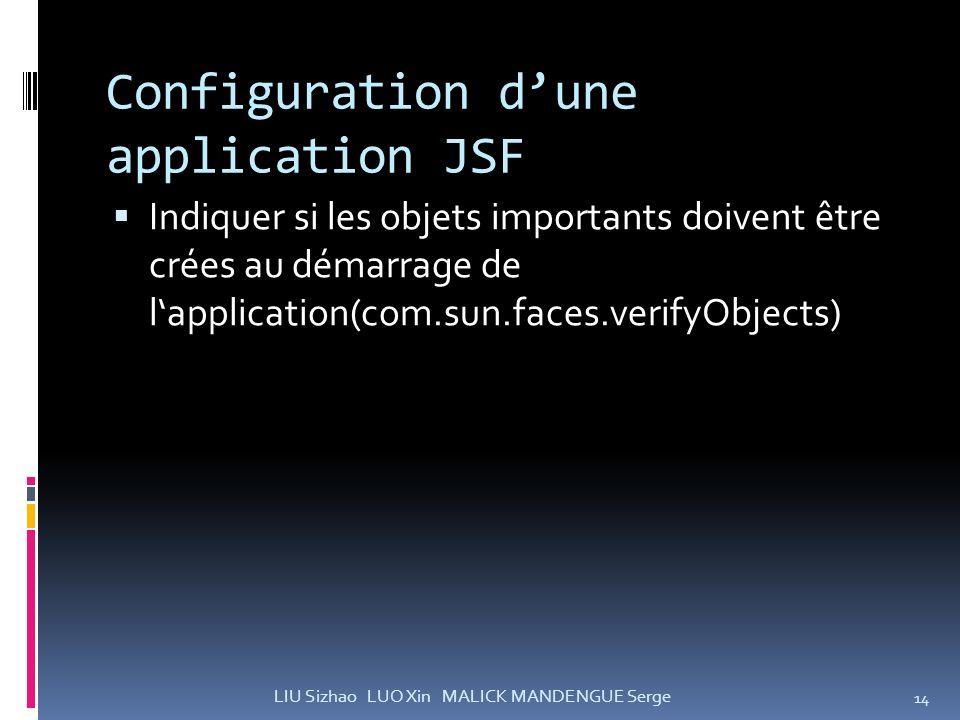 Configuration dune application JSF Indiquer si les objets importants doivent être crées au démarrage de lapplication(com.sun.faces.verifyObjects) 14 L