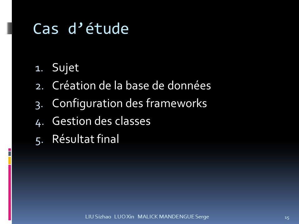 Cas détude 1. Sujet 2. Création de la base de données 3. Configuration des frameworks 4. Gestion des classes 5. Résultat final 15 LIU Sizhao LUO Xin M
