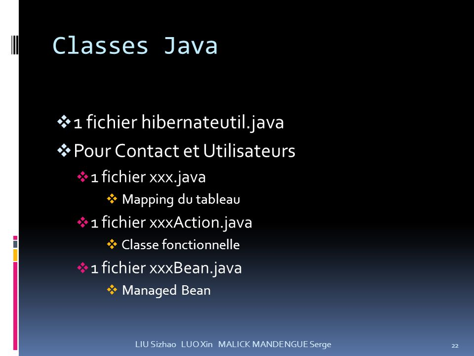 Classes Java 1 fichier hibernateutil.java Pour Contact et Utilisateurs 1 fichier xxx.java Mapping du tableau 1 fichier xxxAction.java Classe fonctionn