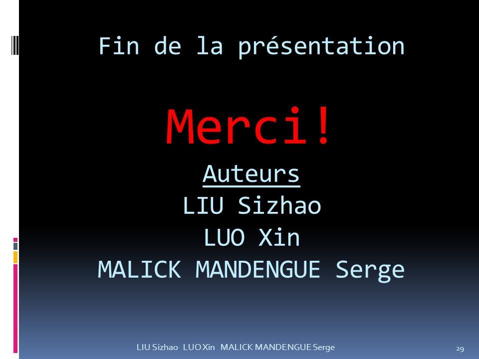 Fin de la présentation Merci! Auteurs LIU Sizhao LUO Xin MALICK MANDENGUE Serge 29 LIU Sizhao LUO Xin MALICK MANDENGUE Serge