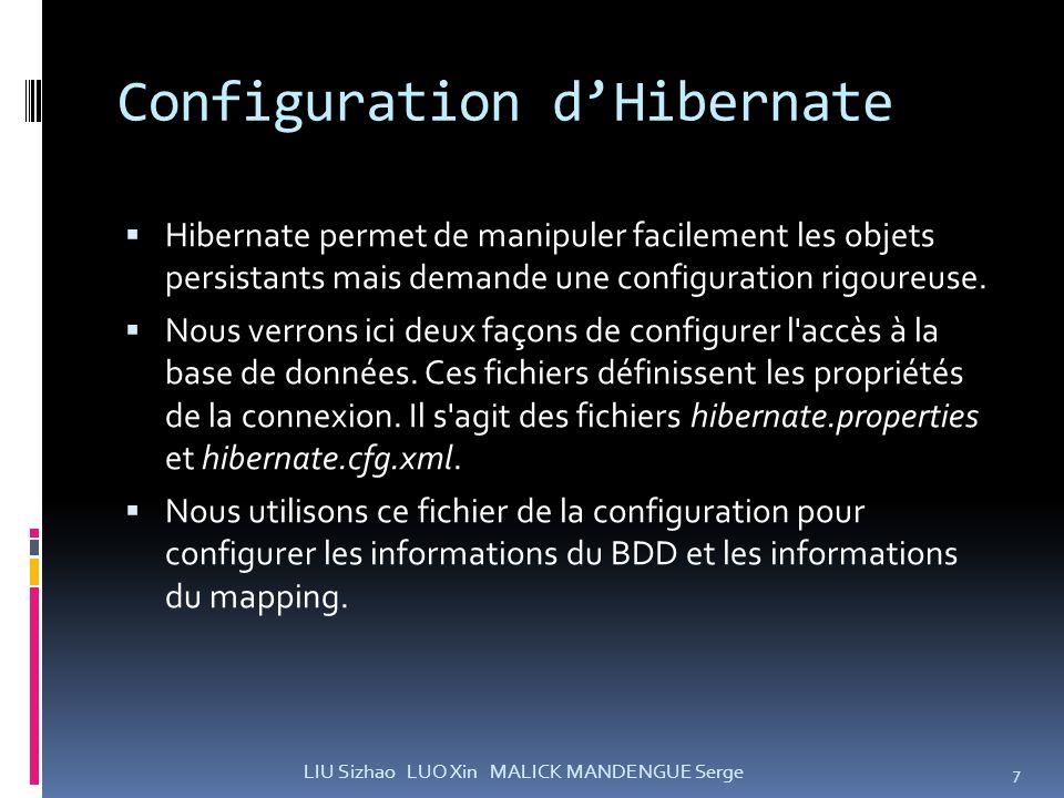 Configuration dHibernate Hibernate permet de manipuler facilement les objets persistants mais demande une configuration rigoureuse. Nous verrons ici d
