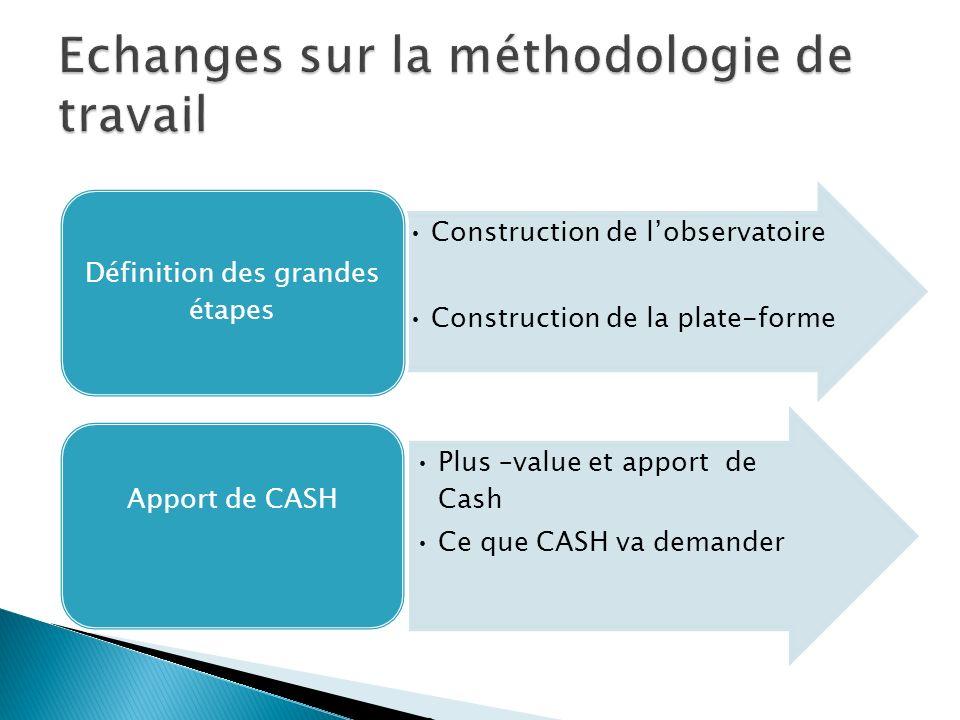 Construction de lobservatoire Construction de la plate-forme Définition des grandes étapes Plus –value et apport de Cash Ce que CASH va demander Appor