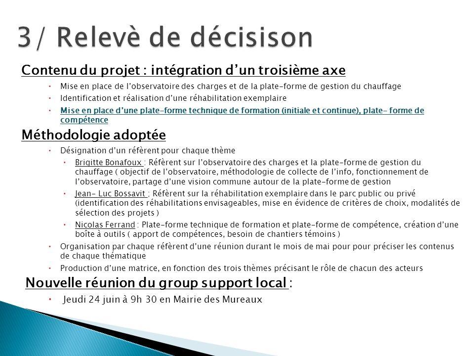 Contenu du projet : intégration dun troisième axe Mise en place de lobservatoire des charges et de la plate-forme de gestion du chauffage Identificati