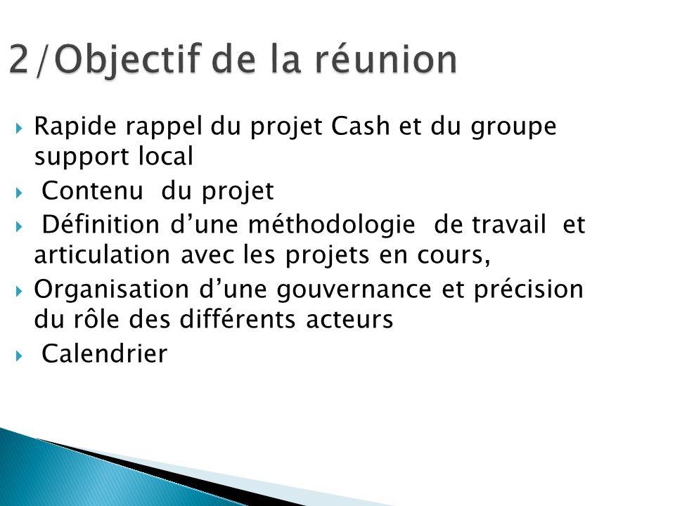 Rapide rappel du projet Cash et du groupe support local Contenu du projet Définition dune méthodologie de travail et articulation avec les projets en