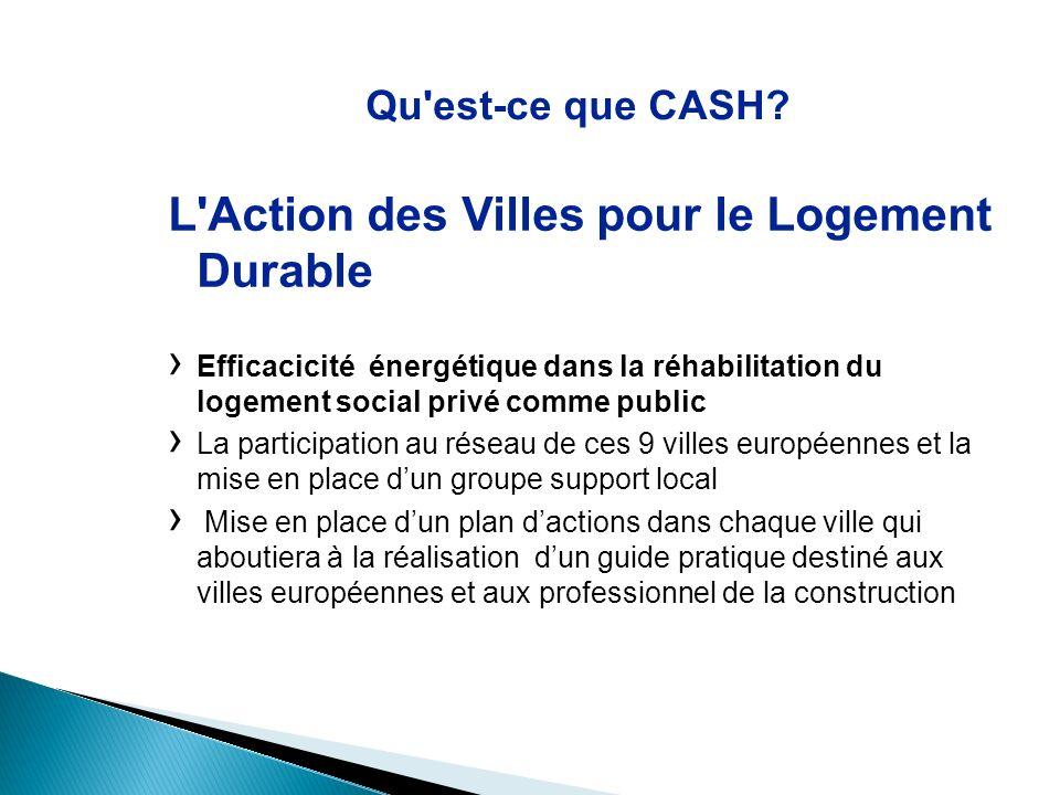 Qu'est-ce que CASH? L'Action des Villes pour le Logement Durable Efficacicité énergétique dans la réhabilitation du logement social privé comme public