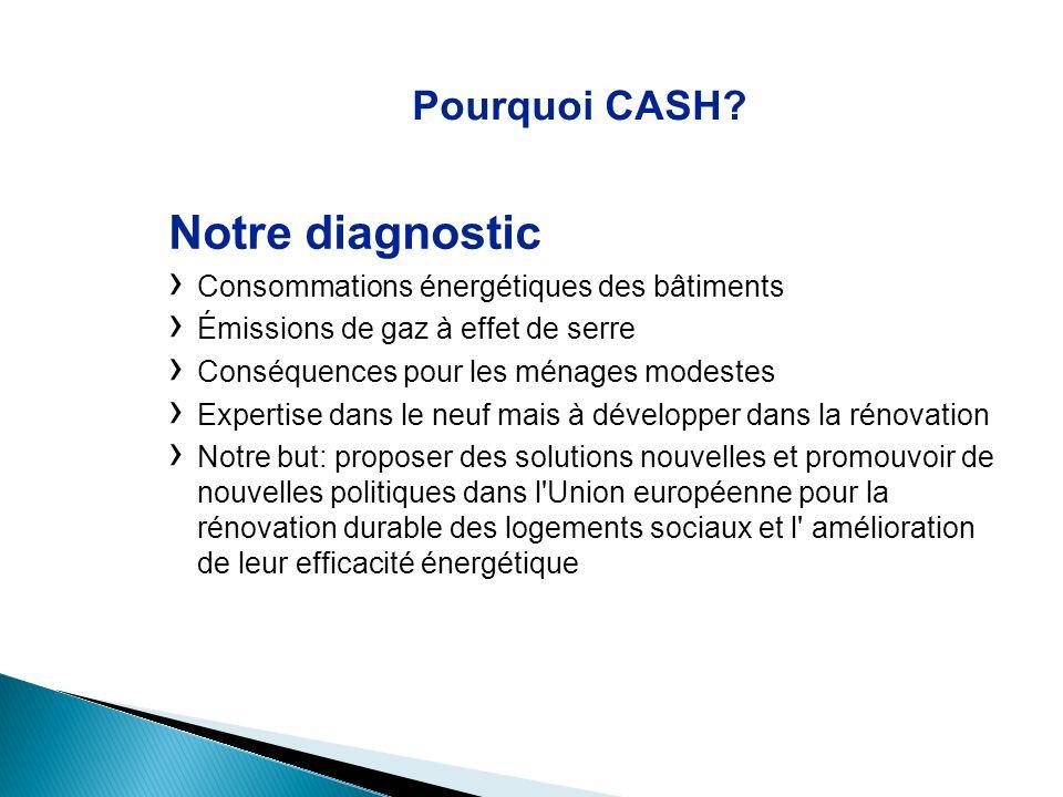 Pourquoi CASH? Notre diagnostic Consommations énergétiques des bâtiments Émissions de gaz à effet de serre Conséquences pour les ménages modestes Expe