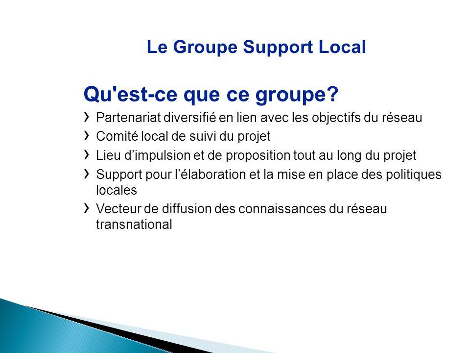 Le Groupe Support Local Qu'est-ce que ce groupe? Partenariat diversifié en lien avec les objectifs du réseau Comité local de suivi du projet Lieu dimp