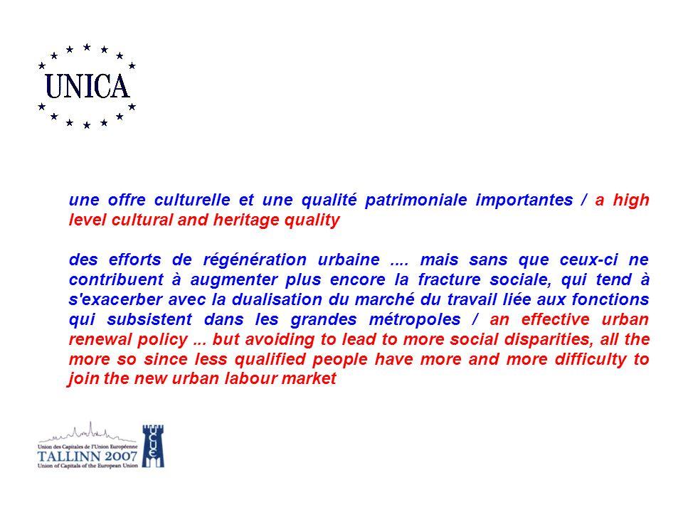 une offre culturelle et une qualité patrimoniale importantes / a high level cultural and heritage quality des efforts de régénération urbaine.... mais