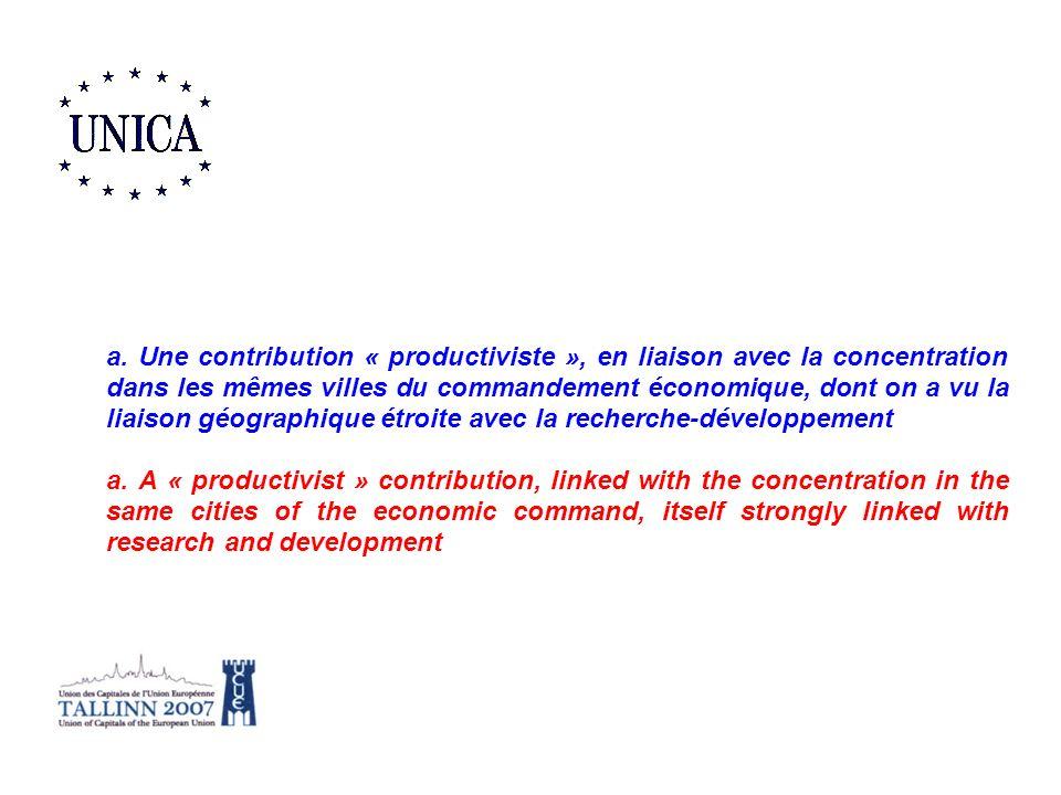 a. Une contribution « productiviste », en liaison avec la concentration dans les mêmes villes du commandement économique, dont on a vu la liaison géog