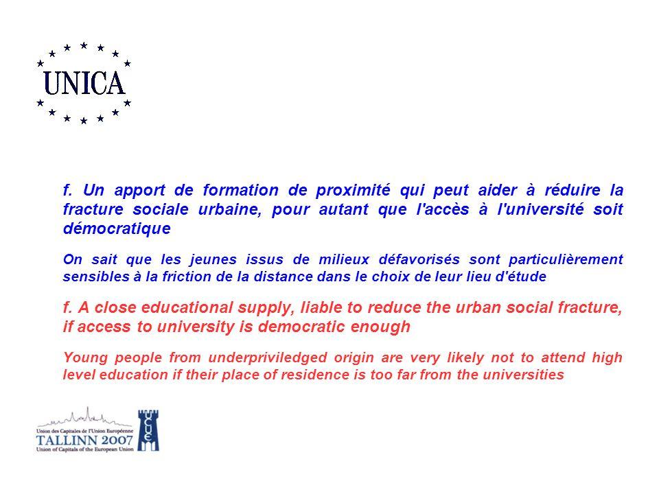 f. Un apport de formation de proximité qui peut aider à réduire la fracture sociale urbaine, pour autant que l'accès à l'université soit démocratique