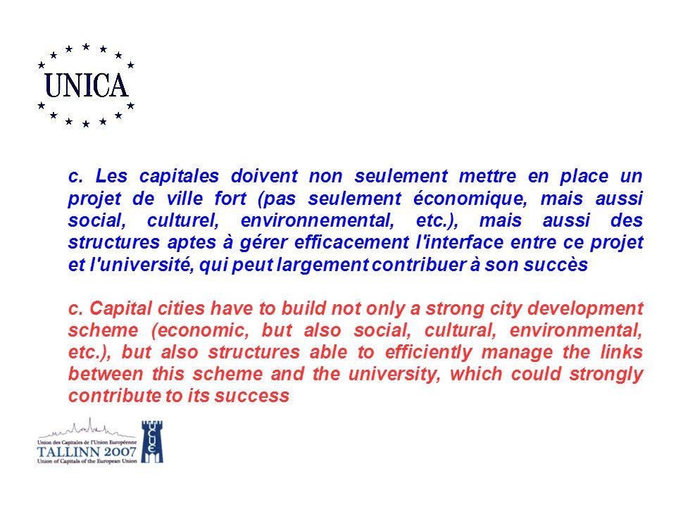 c. Les capitales doivent non seulement mettre en place un projet de ville fort (pas seulement économique, mais aussi social, culturel, environnemental