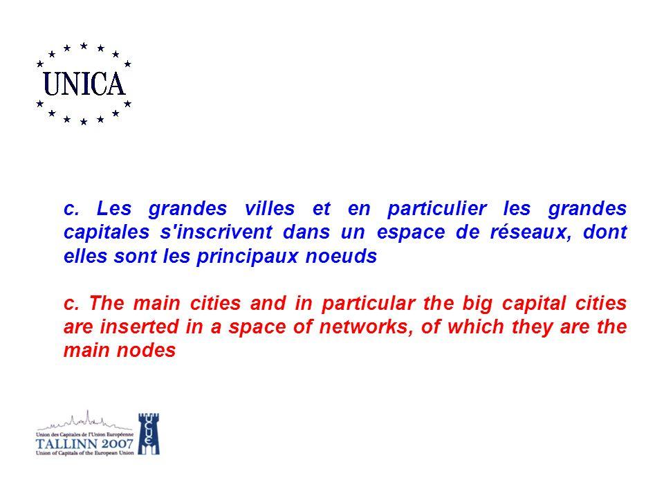 c. Les grandes villes et en particulier les grandes capitales s'inscrivent dans un espace de réseaux, dont elles sont les principaux noeuds c. The mai
