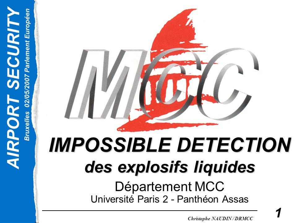 AIRPORT SECURITY Bruxelles 02/05/2007 Parlement Européen Christophe NAUDIN / DRMCC 1 IMPOSSIBLE DETECTION des explosifs liquides Département MCC Unive