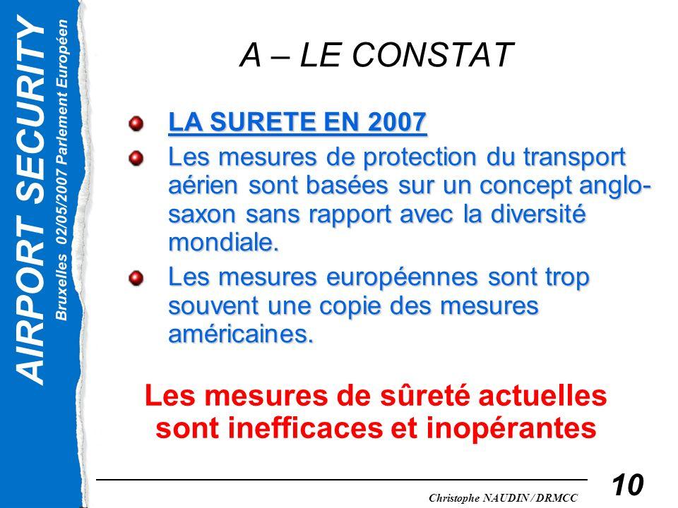AIRPORT SECURITY Bruxelles 02/05/2007 Parlement Européen Christophe NAUDIN / DRMCC 10 A – LE CONSTAT LA SURETE EN 2007 Les mesures de protection du tr
