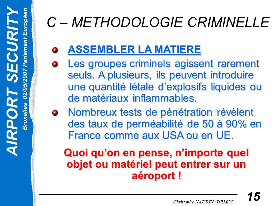AIRPORT SECURITY Bruxelles 02/05/2007 Parlement Européen Christophe NAUDIN / DRMCC 15 C – METHODOLOGIE CRIMINELLE ASSEMBLER LA MATIERE Les groupes cri