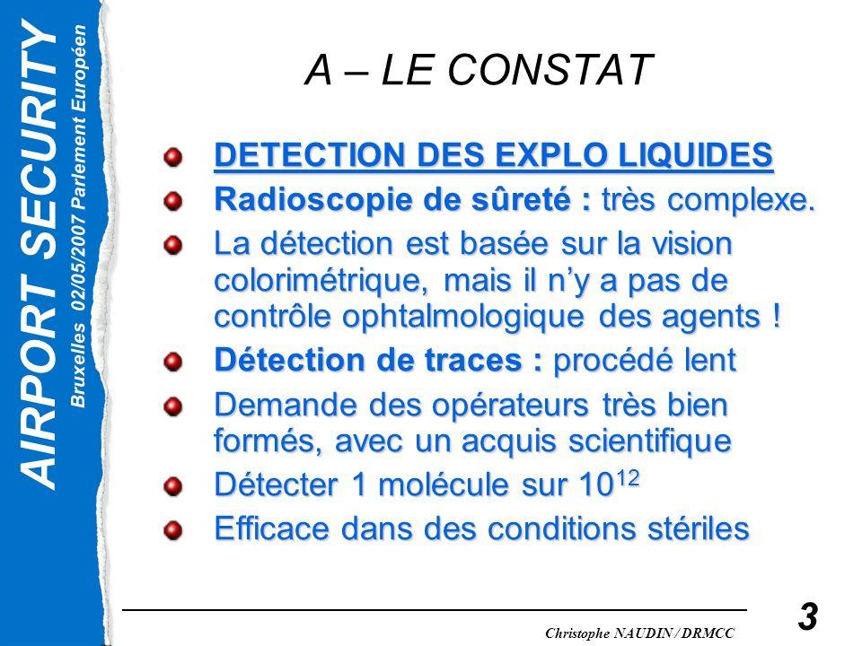 AIRPORT SECURITY Bruxelles 02/05/2007 Parlement Européen Christophe NAUDIN / DRMCC 3 A – LE CONSTAT DETECTION DES EXPLO LIQUIDES Radioscopie de sûreté