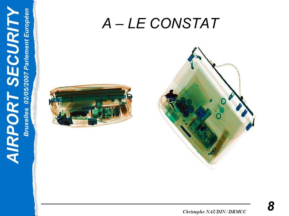 AIRPORT SECURITY Bruxelles 02/05/2007 Parlement Européen Christophe NAUDIN / DRMCC 8 A – LE CONSTAT