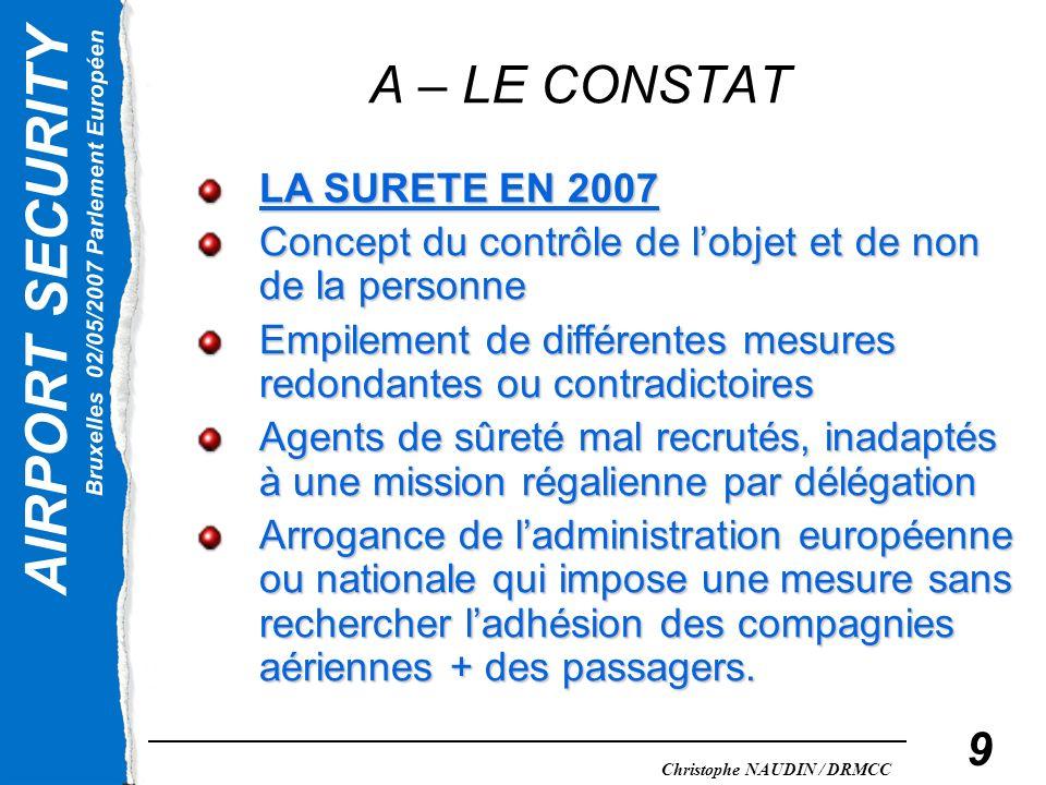AIRPORT SECURITY Bruxelles 02/05/2007 Parlement Européen Christophe NAUDIN / DRMCC 10 A – LE CONSTAT LA SURETE EN 2007 Les mesures de protection du transport aérien sont basées sur un concept anglo- saxon sans rapport avec la diversité mondiale.