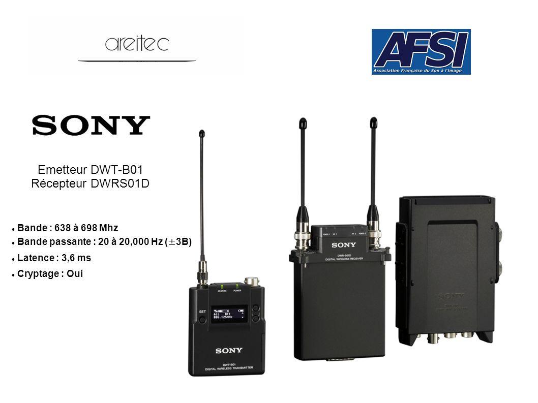 Emetteur DWT-B01 Récepteur DWRS01D Bande : 638 à 698 Mhz Bande passante : 20 à 20,000 Hz (±3B) Latence : 3,6 ms Cryptage : Oui